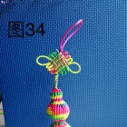 斜卷结葫芦编织方法图解,父亲节手工七彩编绳车挂做法