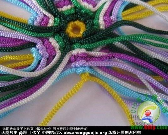 用剩的线编的七瓣花-编法图解-作品展示-中国结论坛