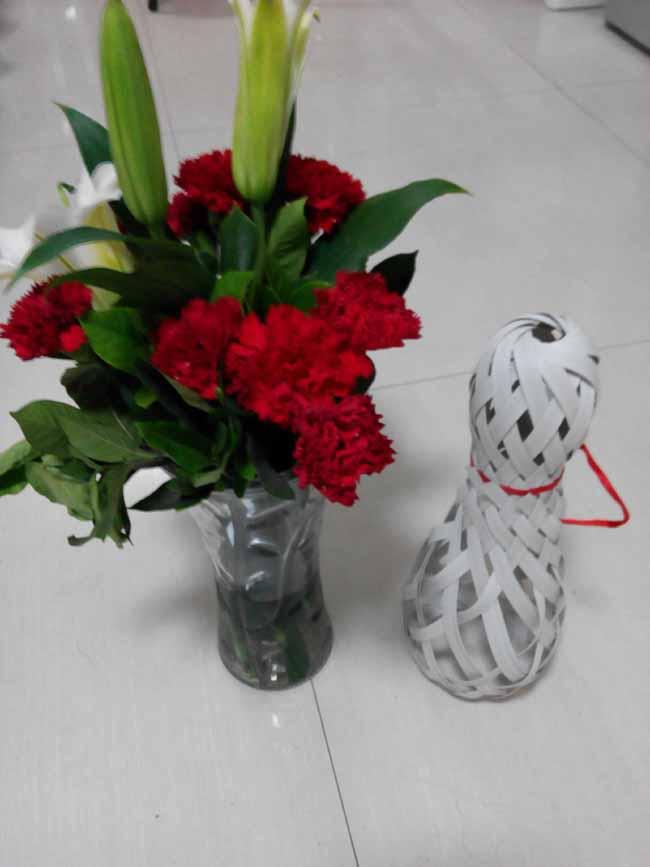 打包带编织花瓶
