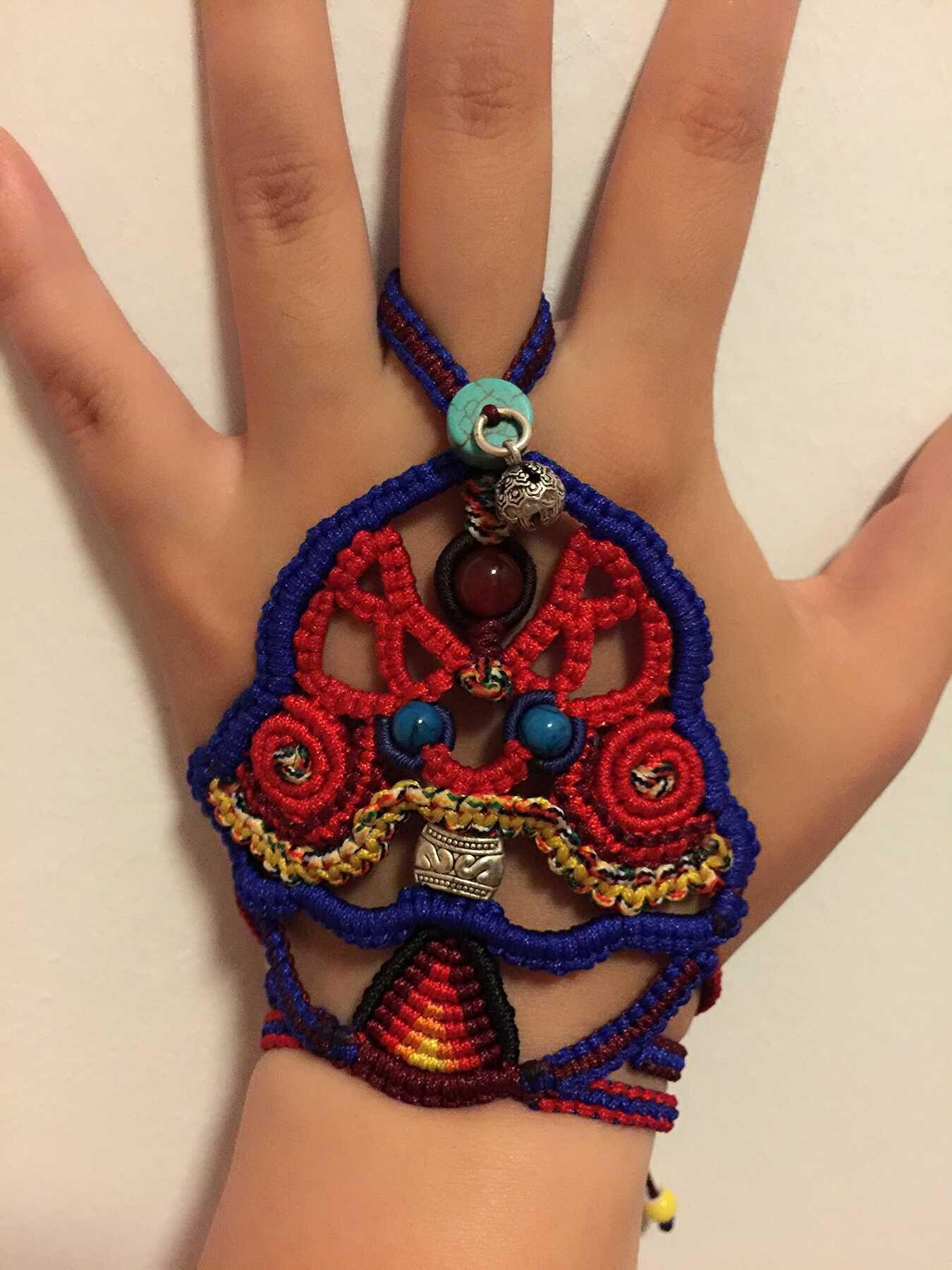 中国结论坛 我编的带在手背上的民族风饰品,第一次自己设计,感觉棒棒哒 民族,饰品 作品展示 120601iw2hyy2watxony2w