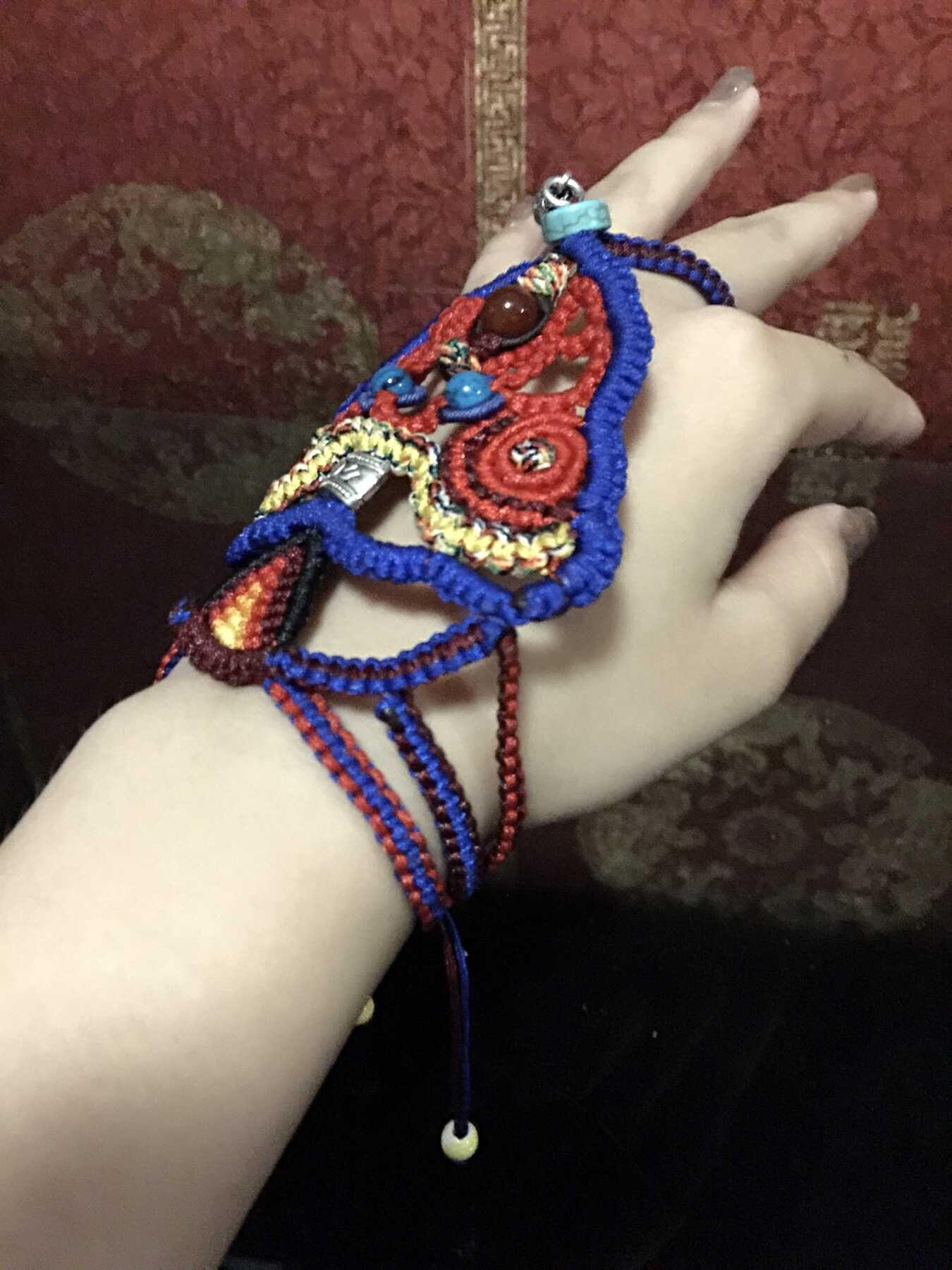 中国结论坛 我编的带在手背上的民族风饰品,第一次自己设计,感觉棒棒哒 民族,饰品 作品展示 120605bbq2drvqv82ktq46