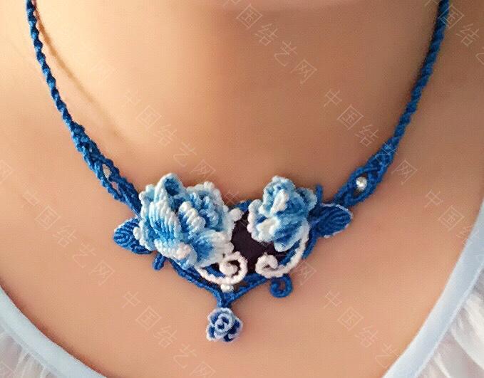 中国结论坛 蓝色牡丹耳坠,项链的配套款  作品展示 073613cddsgexma2d32rnp