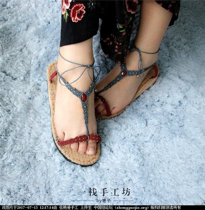 中国结论坛 经过了一年的时间,艳子终于做出了第二款编绳凉鞋  作品展示 121641e3zbc8zb33y3rvii