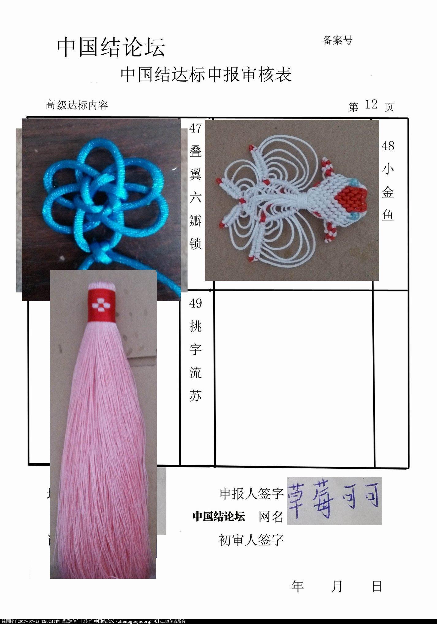 中国结论坛 草莓可可高级达标考核,已重做  中国绳结艺术分级达标审核 120212d4s2j4xdexjwej4x