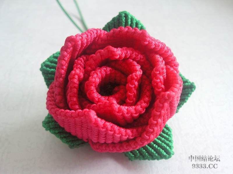 一朵斜卷结玫瑰花-编法图解-作品展示-中国结论坛