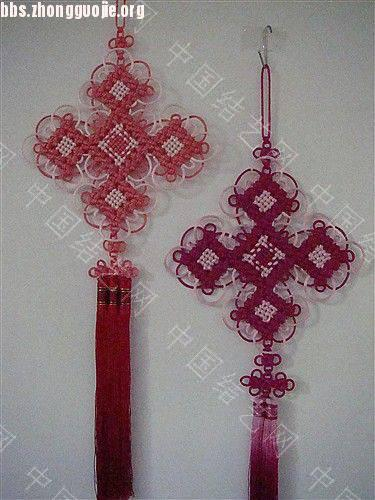 中国结论坛 作品展示-----套色冰花与盘长的组合结  作品展示 101211160909573ca0b74ac244