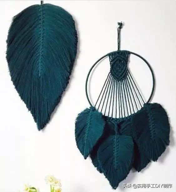 「编绳作品」简洁又时尚的叶子挂件,你确定不做几个?