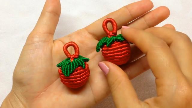 手工绳编系列,带你学习如何用蜡线编织小草莓(图解3-3)