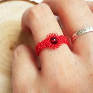 花边蕾丝红绳戒指编法图解
