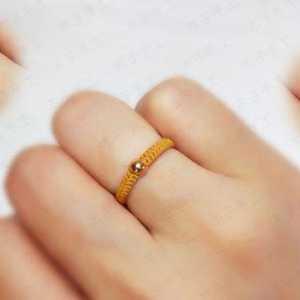 超简单平结红绳小戒指编法