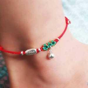 用简单的材料制作美美的桃花脚链,红绳编织,手工diy