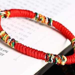 淘宝上很火的五彩绳金刚结手链,本命年红绳手链,编法简单