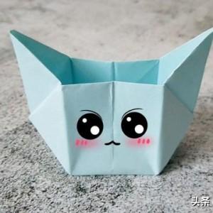 可爱小猫收纳盒折纸图解,简单又好看,适合小朋友学习