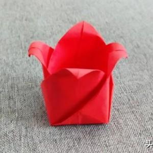 折纸教程:漂亮花朵盒子图解,简单实用,一张纸就完成