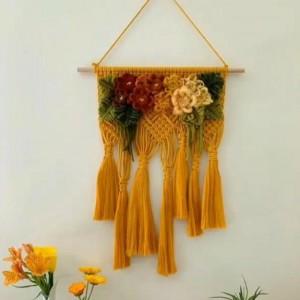 「macrame编绳」50款时尚的秋季装饰花卉墙面编织挂毯设计