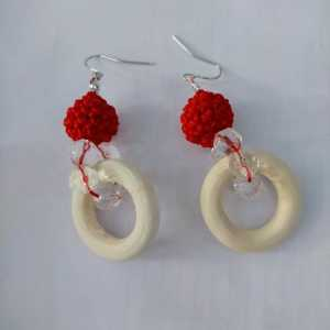 花式珍珠项链编织-编织圆球耳环教程