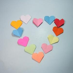 爱心折纸步骤图解,简单折纸心形教程