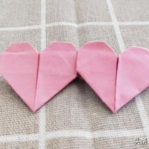 折纸心的折法步骤,七夕情人节简单心心相印教程