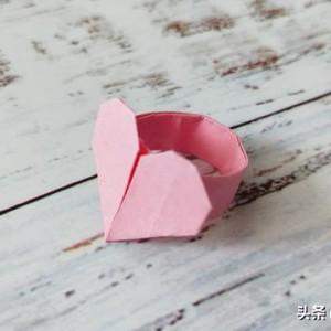 爱心戒指的折法,折纸戒指详细步骤教程图