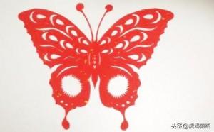 对折蝴蝶剪纸图案画法,蝴蝶图案半边画法教程