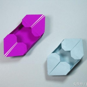 手工折纸盒子图解,双爱心收纳盒的折法步骤