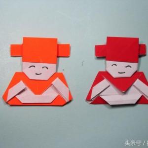 财神爷折纸步骤图解,新年简单手工折纸专题