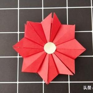 小红花折纸步骤教程,简单又漂亮的红花折纸方法