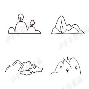 山峰简笔画图片大全,简单彩色包含卡通版的山峰画法步骤