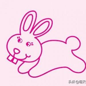 小兔子简笔画画法步骤教程,可爱彩色版卡通绘画方法
