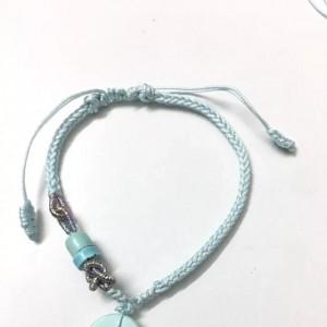 蓝色海洋圈绿松石同心结八股辫手绳编法图解