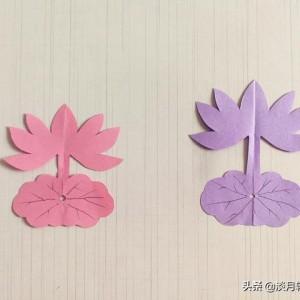 剪纸荷花图片的剪法,简单易儿童手工步骤图