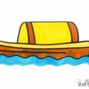 木船简笔画画法,简单可爱彩色版的古风步骤图片