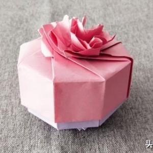 康乃馨礼物盒折纸教程步骤,简单好看手工制作