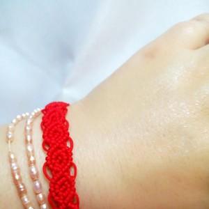 玫瑰花手链编法图解,简单好看容易编织的红绳手链