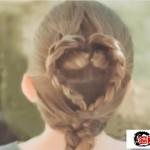 爱心发型编法图解教程,适合女孩子儿童简单桃心发型