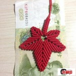 中国结枫叶编织步骤图解,72号玉线枫叶挂件编法教程