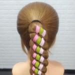 彩带编发的基本步骤,儿童彩带编发教程