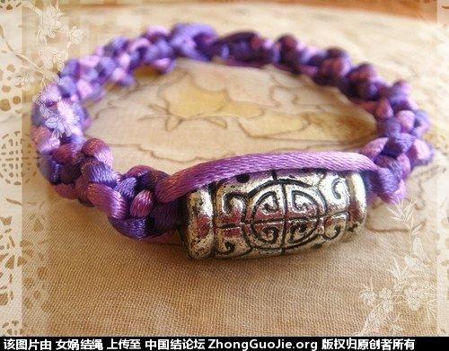 中国结论坛 新编的紫色扭平结手链  作品展示 111437xwxr3u7wdi2jo93m