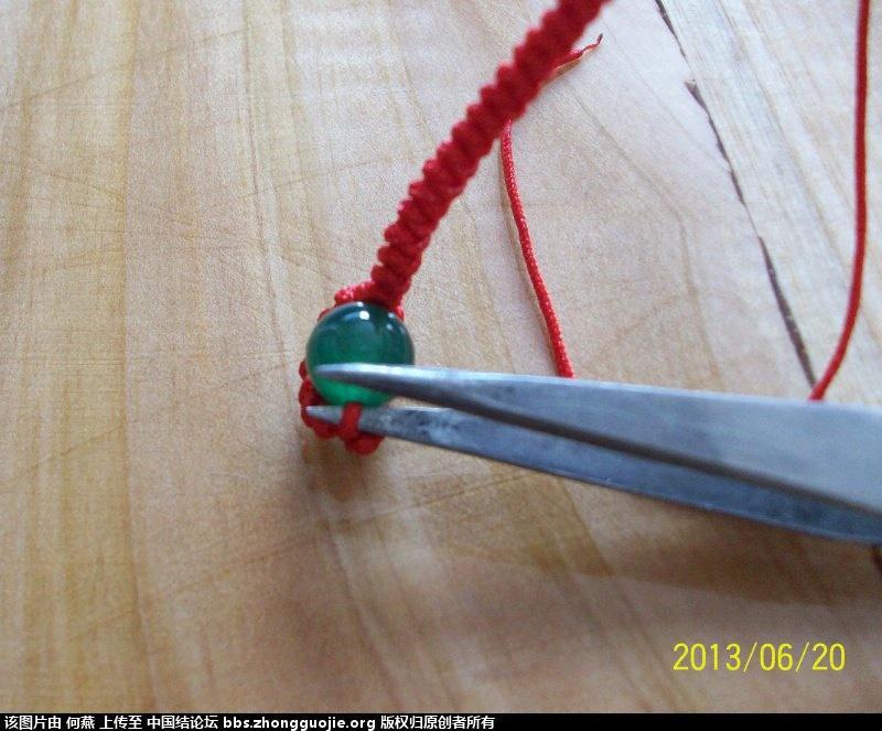 红绳戒指编法图解,新手简单珠子红绳戒指教程