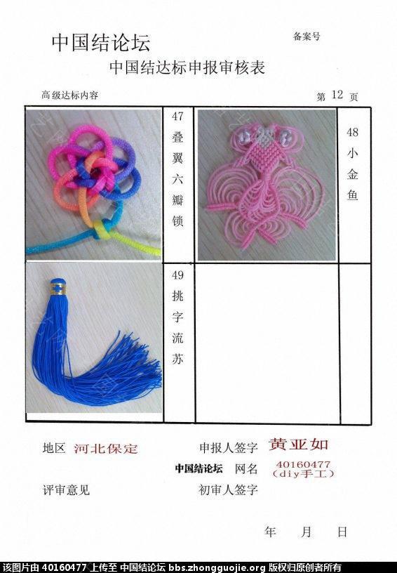 中国结论坛 河北保定   40160477高级达标申请表 申请表,保定,河北 中国绳结艺术分级达标审核 110447lsjxhaj408lxpjap