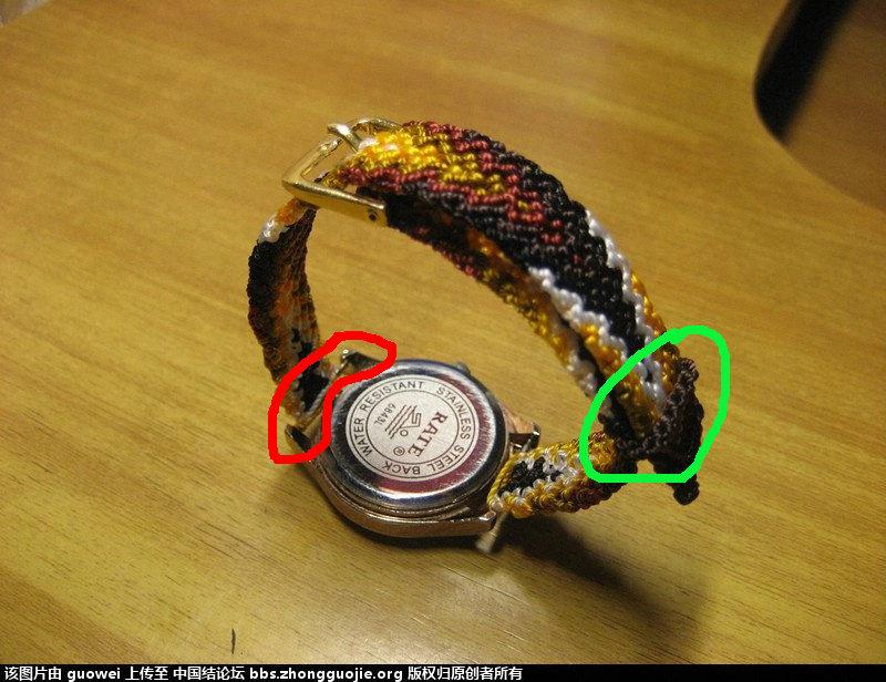 中国结论坛 想问guowei老师表带的编织方法,红圈处表带是怎么和表盘连接的?绿圈的环怎么编?谢谢 编织,红圈 结艺互助区 171358k6e8lg68mecggz0r