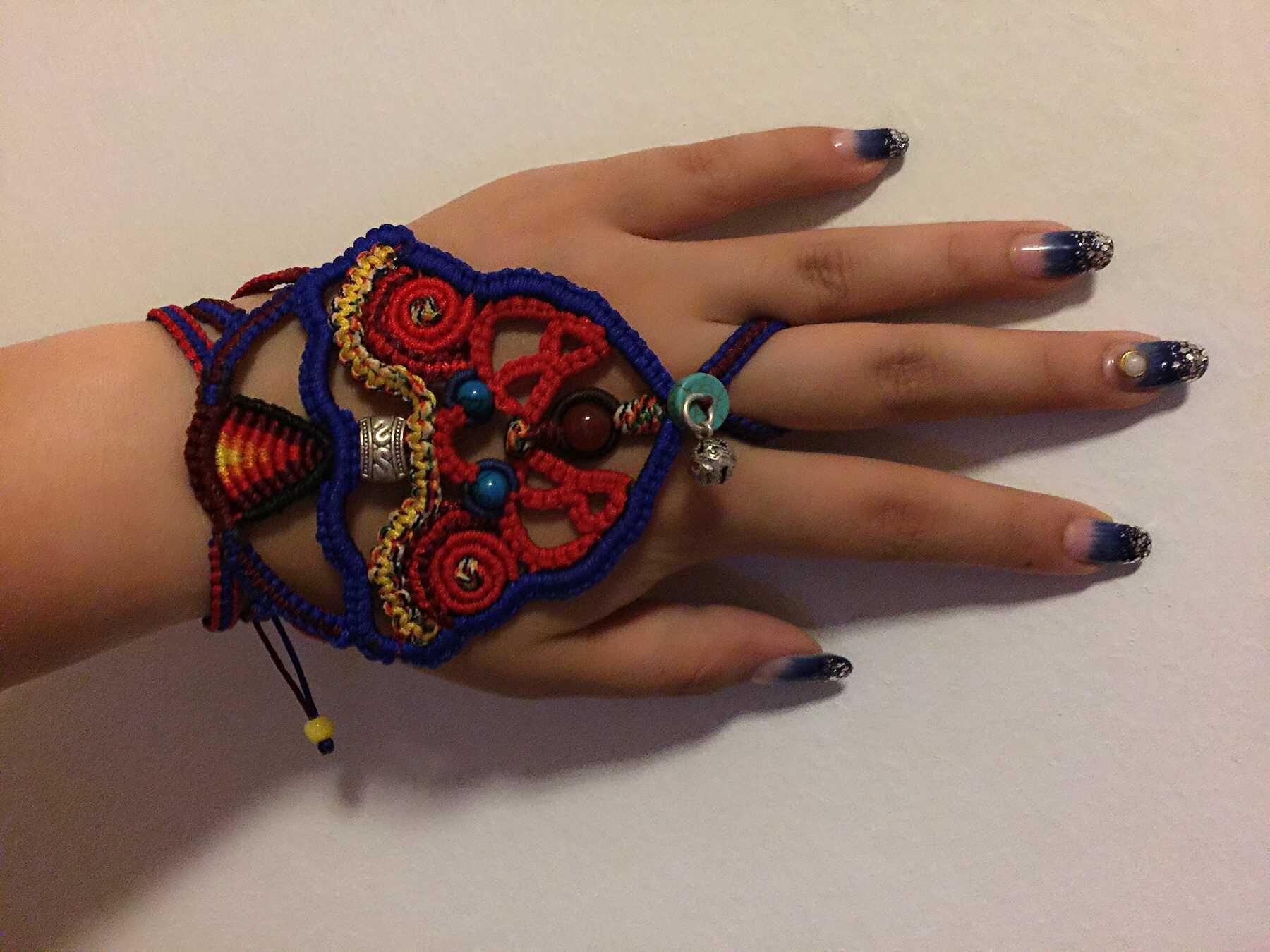 中国结论坛 我编的带在手背上的民族风饰品,第一次自己设计,感觉棒棒哒 民族,饰品 作品展示 120614qls74n9r5jvunnun