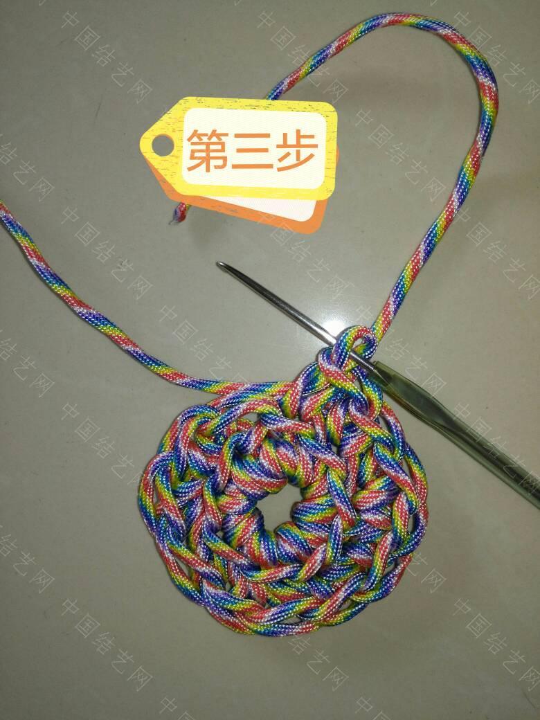 """中国结论坛 钩针""""流苏头""""钩法,为方便观看、用伞绳示范、有不明白的地方再交流:  图文教程区 171839j2ok0h0hziknah2e"""