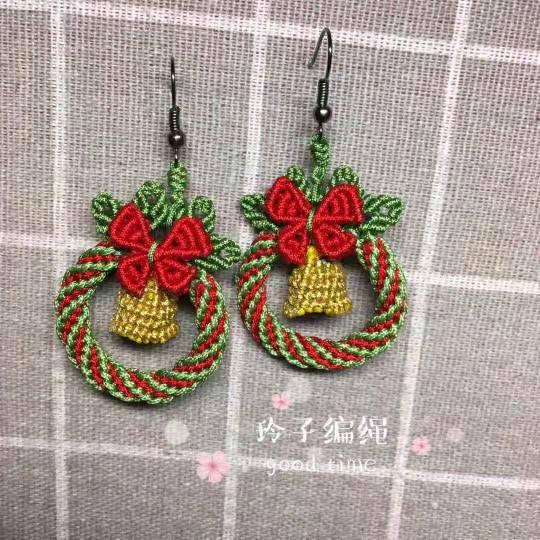 中国结论坛 圣诞花环耳饰  作品展示 174054aq3fkij6d6x1zks6