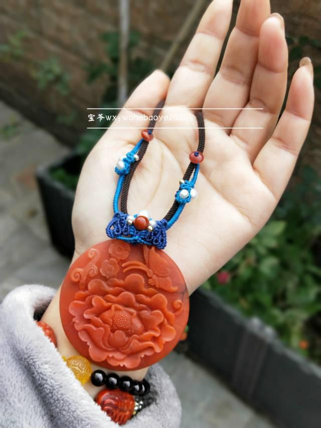 中国结论坛 南红牡丹花镯心牌项链  作品展示 010845yss8yeyb2v2r99fw