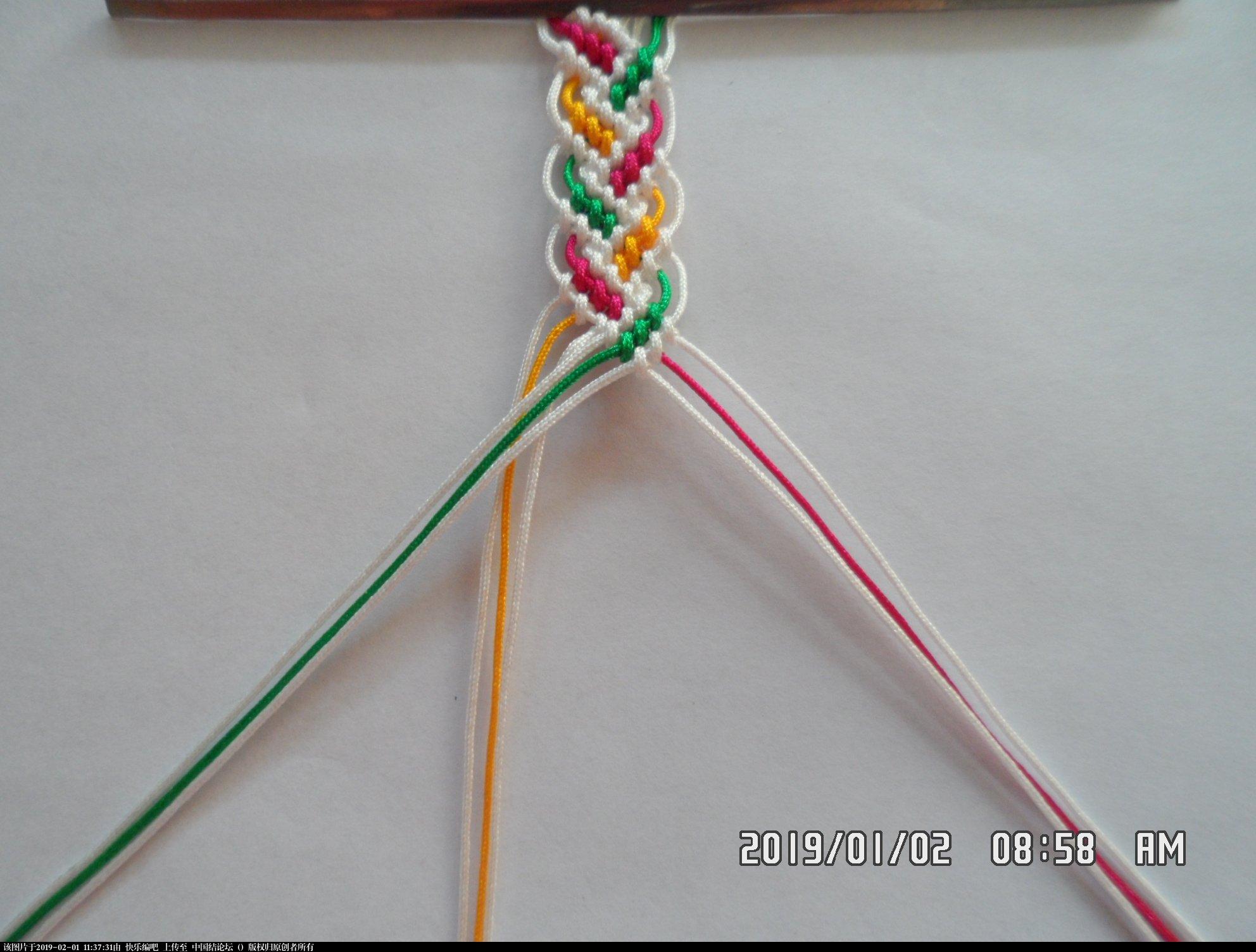 中国结论坛 一款彩色辫子图案手绳的编法 —— 反斜卷结练习  图文教程区 105823odb2o4rvycd2m227