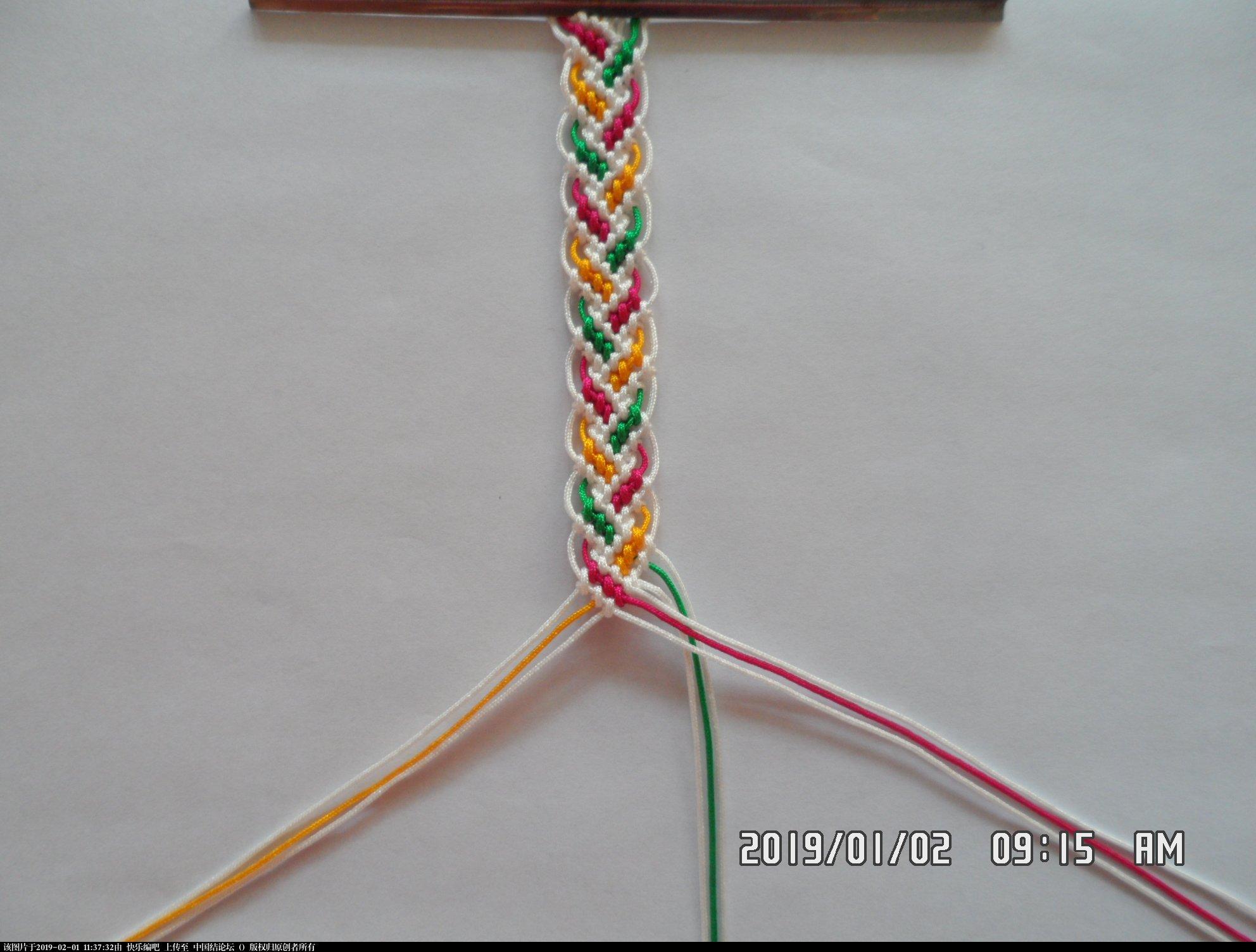 中国结论坛 一款彩色辫子图案手绳的编法 —— 反斜卷结练习  图文教程区 105853v7q1551be8bwb8b3