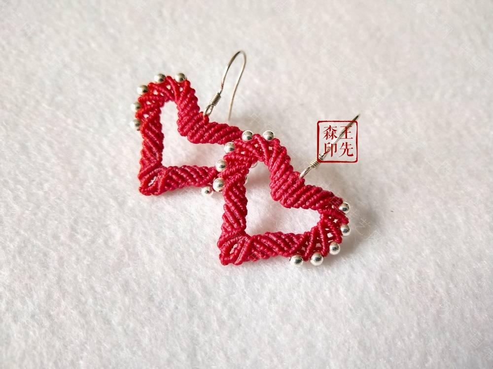 中国结爱心耳环编法图解,手工编织耳环方法教程