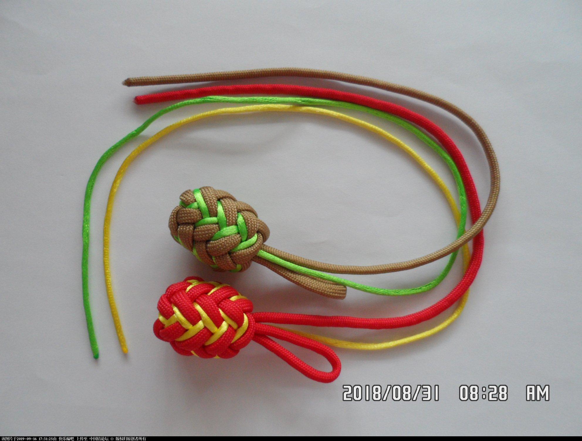 中国结论坛 一款伞绳菠萝形小挂件的走线方法  图文教程区 154039lfb314r4f8z8bfft