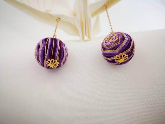 中国结论坛 手鞠球紫色玫瑰,耳环,手链  作品展示 072252iap3a84kno38zaxs